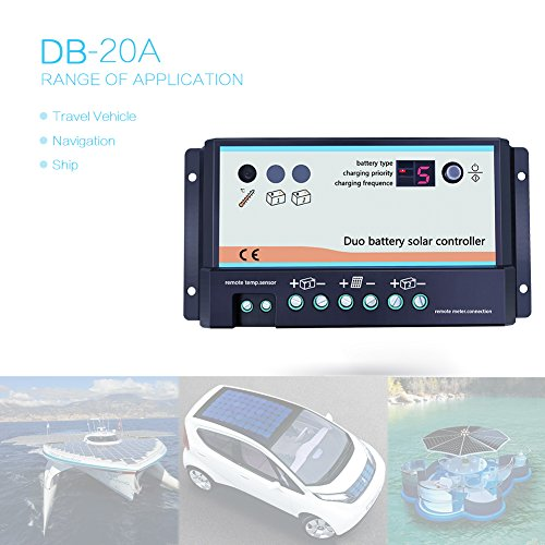 EPEVER Dual Battery Solar Charge Controller 20A 12V 24V Duo-Battery Solar Controller for RVs Caravans and Boats by EPEVER (Image #3)