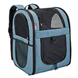 apollo walker Pet Carrier Backpack for Small Cats and Dogs, Puppies, Two-Sided Entry, Safety Features and Cushion Back Support | for Travel, Hiking, Outdoor Use (Blue)