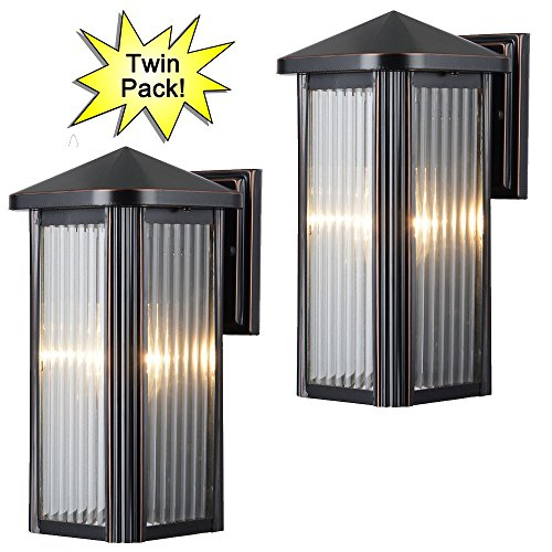 Antique Exterior Light Fixtures (Hardware House 230742 12-1/2-by-6-Inch Aluminum Outdoor Light Fixtures, Oil Rubbed Bronze - Twin Pack)