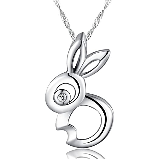 Sojewe 925 Sterling Silver Rabbit Pendant White Gold Plated Cubic Zirconia Women Necklace Birthday Gift zaaq1F