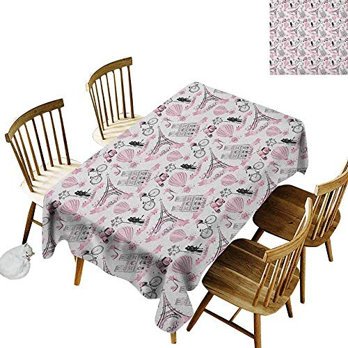 DONEECKL Eiffel Home Decoration Tablecloth Anti-Overflow Tablecloth Love in The City Paris French Bridal Composition Romantic Travel Pink Blossoms Rose Black White W70 xL120