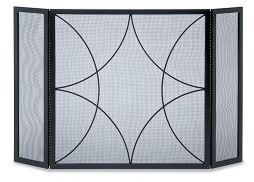 NAPA FORGE Pilgrim Home and Hearth 19222 Forged Diamond Tri Panel Fireplace Screen, One Size, Black