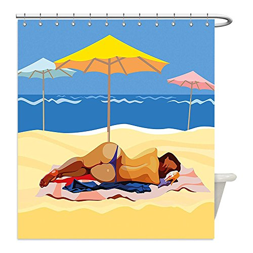Liguo88 Custom Waterproof Bathroom Shower Curtain Polyester Beach Decor Illustration of a Woman in Bikini Lying on the Beach with Umbrellas Light Yellow and Blue Decorative bathroom