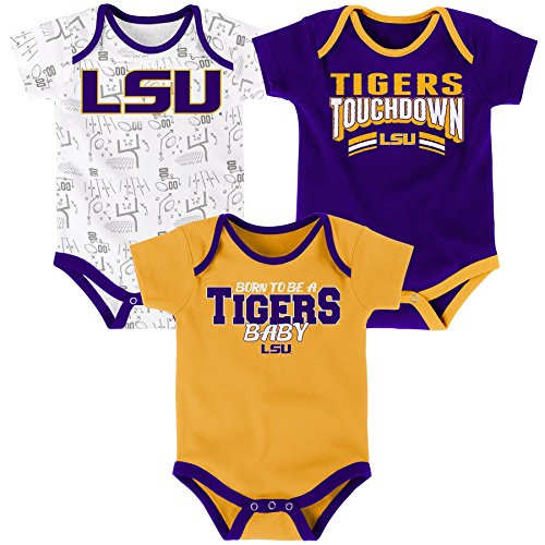 NCAA LSU Tigers Newborn & Infant Playmaker 3pc Bodysuit Set, Multi, 18 Months