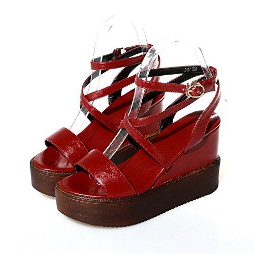 Amoonyfashion Mujeres Pu High Heels Sandalias De Hebilla Sólida De Punta Abierta Red