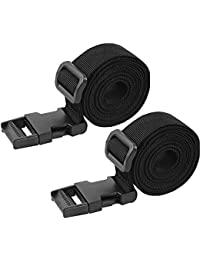 """Set of 2 Adjustable Luggage Straps, Utility Strap for Outdoor Sports, Backpacking, Air Mattresses, Sleeping Bag Compression, Luggage, Bundling, with Quick Release Buckle (3.2' x 1"""")"""