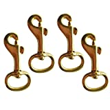 MonkeyJack 4 Pieces 2/3 Inch by 1-3/4 Inch Brass Swivel Eye Bolt Snap Hook Carabiner Key Ring Pet Clip Scuba Diving Leathercraft Accessories