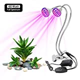 Derlights 60W Dual Head LED Grow Light, Full Spectrum Desk Clip Grow Lamp with 360° Flexible Metal Arms & Double on/Off Switch for Indoor Plant Office Home Garden Greenhouse
