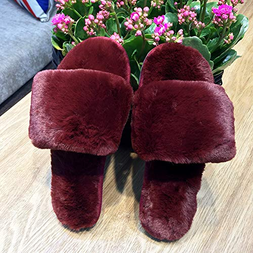 Carmine Slippers Slides Comfort Slip Faux Bottom Plush Slippers Flat Fuzzy Wear House Non with Fur Womens qw8UCZE