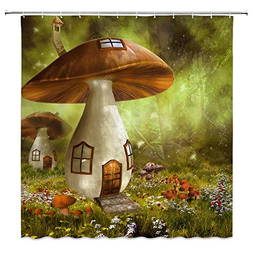 AMNYSF Fantasy Forest Shower Curtain Fairy House Mushroom Cottage Green Trees Meadow Colorful Flowers Decor Fabric Bathroom Curtains,70x70 Inch Waterproof Polyester with - Mushroom Curtain