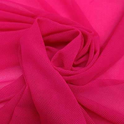 Solid Power Mesh Fabric Nylon Spandex 60 Wide Stretch Sold BTY Many Colors Fuchsia, 1 YARD