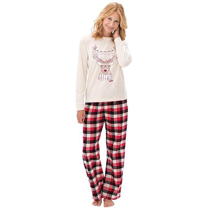 Bestow Mujeres Mamá Ciervos de Papá Noel Blusa Pantalones Familia Pijamas Ropa de Dormir Conjunto de Navidad Señoras: Amazon.es: Ropa y accesorios