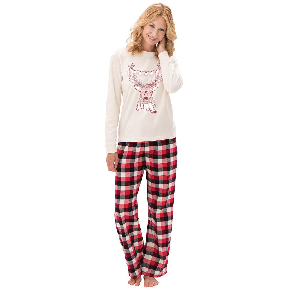 Big Santa Deer Tops Blouse Pants Family Pajamas Sleepwear Christmas Set WaiiMak