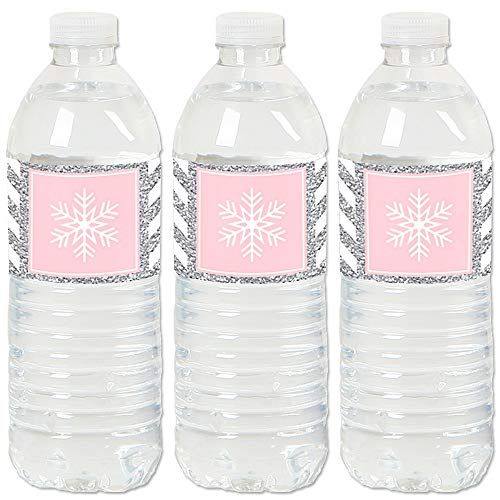 Water Winter Wonderland (Big Dot of Happiness Pink Winter Wonderland - Holiday Snowflake Birthday Party and Baby Shower Water Bottle Sticker Labels - Set of)