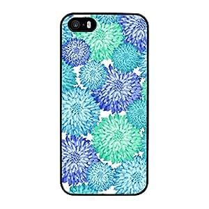 Funda carcasa para Apple iPhone 5 5S diseño estampado flores azul turquesa y verde agua borde negro