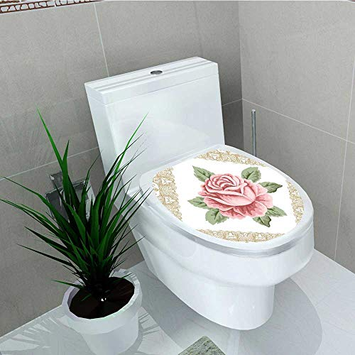 (Analisa A. Houk Decal Wall Art Decor Lace Ornate Rose Petal Floret Light Pink Toilet Decoration W13 x L13)