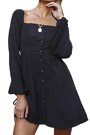 5f27a70fd9 FAFOFA Winter Dress Women Square Neck Button Down Puff Long Sleeve Shirt  Dress Long Tees Black
