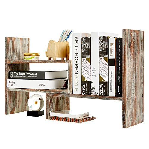 Rustic Torched Wood Adjustable Desktop Bookcase Office Organizer Shelf (Adjustable Bookcase)