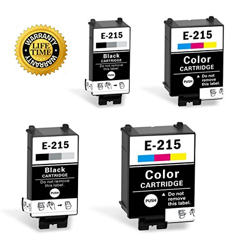215 Ink Cartridges Compatible for WF-100 Printer (2 Black, 2 Tri-Color, Pigment, 4-Pack)