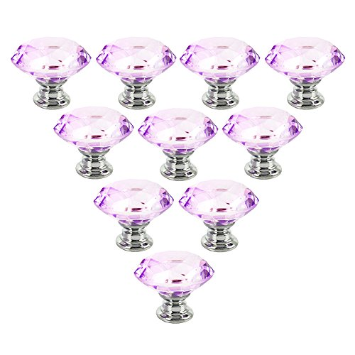 NORTHERN BROTHERS Drawer Knob Pull Handle 30MM Lavender Crystal Glass Diamond Shape Cabinet Drawer Pulls Cupboard Knobs with Screws for Home Office Cabinet Cupboard Bonus Silver Screws DIY(10 knobs)