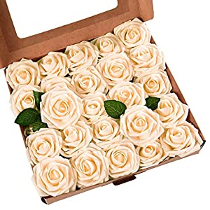 Artificial Rose Flowers with Stems, Real Looking Artificial Roses Bouquets, Artificial Foam Rose Flowers for DIY Wedding Bouquets Centerpieces Arrangements Party Baby Shower Home Decorations, 50 Pcs 29