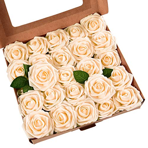 Artificial Rose Flowers with Stems, Real Looking Artificial Roses Bouquets, Artificial Foam Rose Flowers for DIY Wedding Bouquets Centerpieces Arrangements Party Baby Shower Home Decorations, 50 -