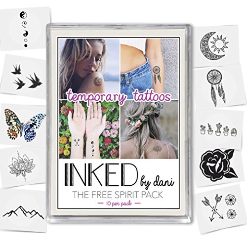 INKED by Dani Temporary Tattoo Designs – Free Spirit Pack. Realistic, Hand-Drawn Body Art. (Lasts up to 2 weeks)
