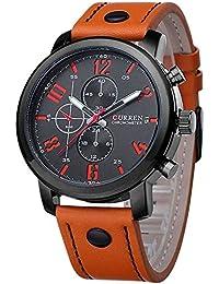 Mens Wrist Watch Big Face Orange Leather Band Easy Read Reloj Hombre Curren CR8192ORBK