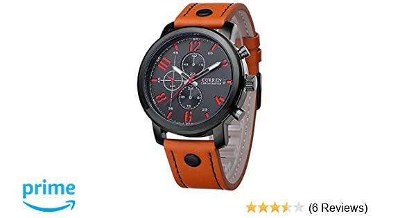 Amazon.com: ShoppeWatch Mens Wrist Watch Big Face Orange Leather Band Easy Read Reloj Hombre Curren CR8192ORBK: Watches