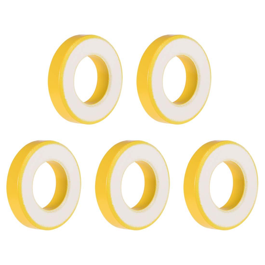 uxcell 5pcs 21 x 39 x 8.5mm Ferrite Ring Iron Powder Toroid Cores Yellow White