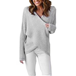 Milazer Womens V-Neck Loose Cross Long Sleeve Knitted Sweater Casual Shirt Jumper Tops (Gray)