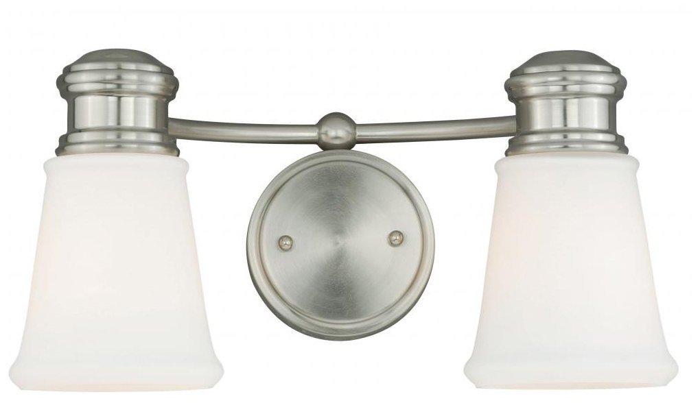 Vaxcel w0219 Malie 2ライト化粧台ライト、サテンニッケル仕上げ B01BPCR7M0 24552