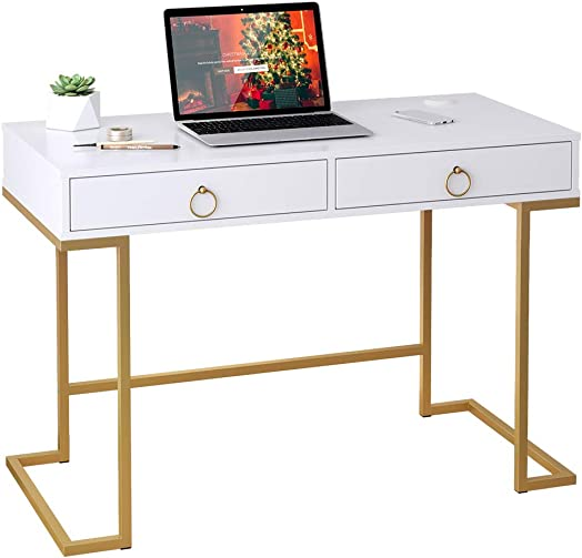 LANGRIA Computer Desk Vanity Table for Home Office, Simple Modern Style Work Station Study Writing Desk with 2 Large Storage Drawers, Makeup Vanity Console Table White Golden