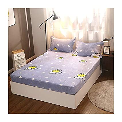KFZ Fleece Fur Fitted Sheet Bedsheet Protector Without Pillowcases for Single Double Bed CA1808 Twin Full Queen King Cloud Crown Fashion Boy Designs 1PC for Kids (Rain Crown, Blue, Full 59'x79')