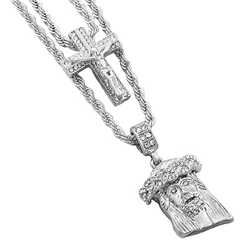 d Out Hip Hop Bling 2 Piece Pendant Crucifix Cross and Cuban Jesus 4mm Rope Chain Set ()