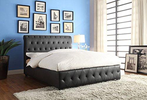 Homelegance 5789BK-1 Tufted Queen Size Upholstered Bed, Black Bi-Cast (Homelegance Leather Bed)