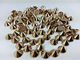 CraftbuddyUS 100pcs 10mm Rose Gold Hotfix Cone Spike Studs, Punk, DIY Fashion Gems, Stick on