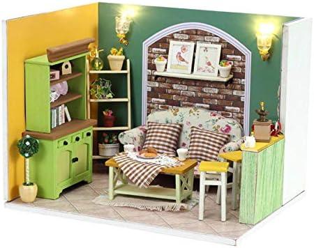 NORELL Exquisit Wohnzimmer DIY Puppenstube Puppenhaus Aus Holz Mit Zubehör,  DIY Dollhouse Kit Kinder Geschenk, Mitnehm Puppenhaus Puppen Set Dollhouse  ...