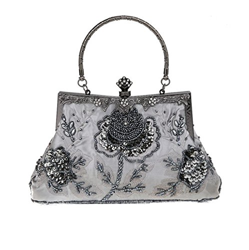 Bopstyle Women's Sequin Beaded Party Clutch Vintage Rose Purse Evening Handbag ()