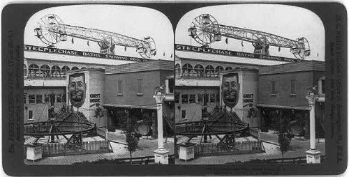 (HistoricalFindings Photo: In Steeplechase Park,Coney Island,N.Y York,c1904,Ghost House,Ride,fun)