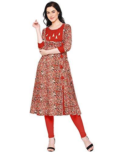 Yash Gallery Indian Tunic Tops Women's Cotton Kalamkari Print Anarkali Kurta (Red, M)