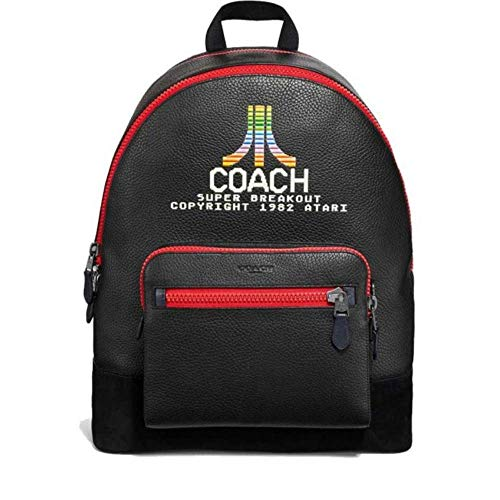 COACH LIMITED EDT BLACK ANTIQUE NICKEL WEST BACKPACK WITH ATARI MOTIF   REFINED LEATHER AND SUEDE   ADJUSTABLE LEATHER PADDED STRAPS