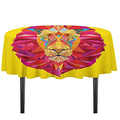 Zoo Detachable Washable Tablecloth Colorful African Animals Geometric Diamond Face Lions Mane Safari Wildlife Theme Image Great for Parties Festivals etc. D55.11 Inch Multicolor