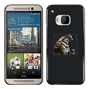 Be Good Phone Accessory // Dura Cáscara cubierta Protectora Caso Carcasa Funda de Protección para HTC One M9 // Grey Tiger Roar Poster Teal Minimalist