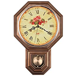 Vintage Rose Classic Traditional Schoolhouse Pendulum Wall Clock Chimes Every Hour With Westminster Melody Made in Taiwan, 4AA Batteries Included (PP0262-F Vintage Brass)