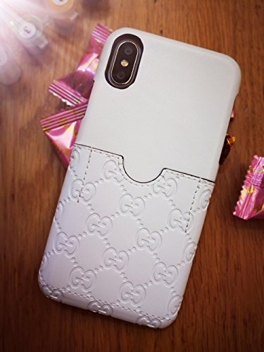 Yukmui Embossed LetterG Style case Cover Wallet with Card Hold for iPhone X only (White)