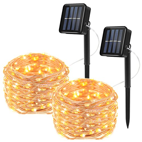 Moreplus Solar Powered String Lights 100 LED 33ft 8 Modes Copper Wire Lights Indoor/Outdoor Waterproof Decorative String Lights for Patio Garden Wedding Christmas Decor (Warm White, Pack of 2)
