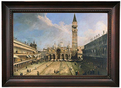 Historic Art Gallery the Piazza San Marco in Venice 1723 by Canaletto Framed Canvas Print, 12
