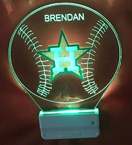 Astros MLB Baseball Handmade Night Light Multi Color Personalized LED Plug-in, Ultra-Slim -
