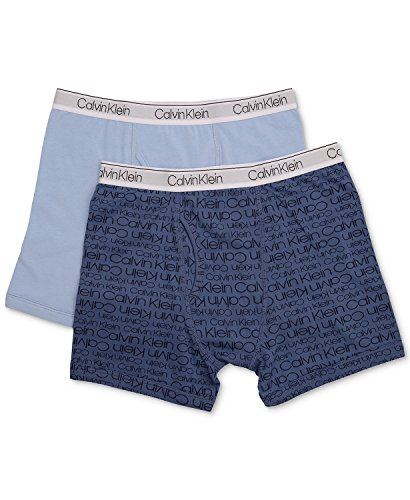 Calvin Klein Boy`s 2 Pack Boxer Briefs (Large/12-14, Blue Bell(I5131)/CK Logo Blue)